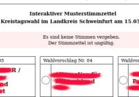 Interaktiver Musterstimmzettel zur Kreistagswahl im Landkreis Schweinfurt am 15.3.2020